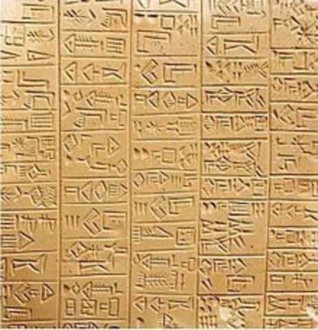 """Sumerian """"writing"""" system on clay tablets 3100 BCE"""