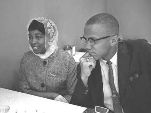 Malcolm X marries Betty Sanders