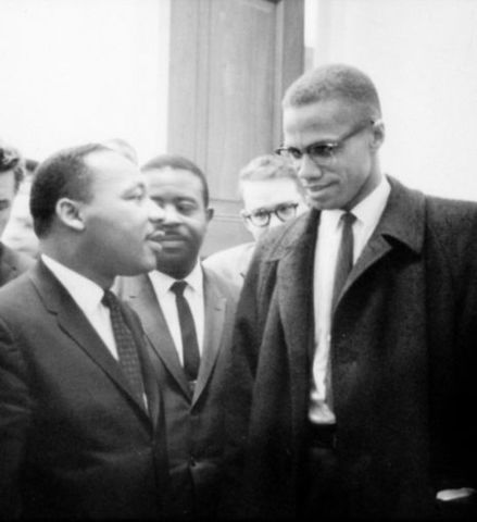 Malcolm X meets with Martin Luther King Jr.