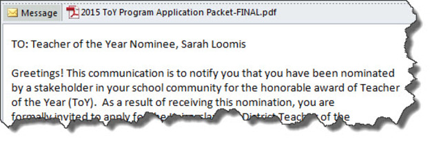 Notified of District Teacher of the Year Nomination