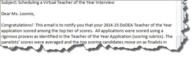 HOLY Cow!  Finalist for DoDEA