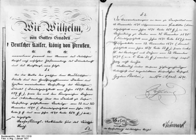 German Constitution drafted by Bismarck