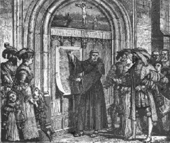 """Martin Luther nails """"Ninety Five Theses"""" to church door in Wittenberg, Germany"""