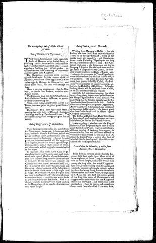 Dutch Coranto (printed in English in 1620)