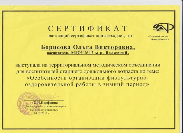 Сертефикат Борисовой О.В.