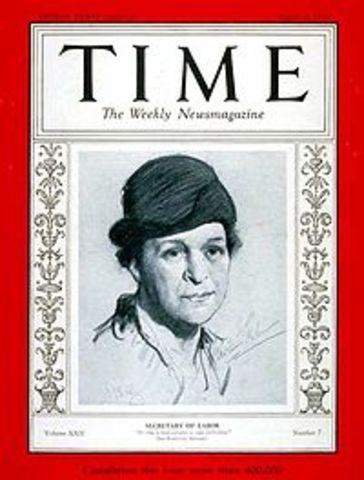 Frances Perkins appointed as Secretary of the Department of Labor