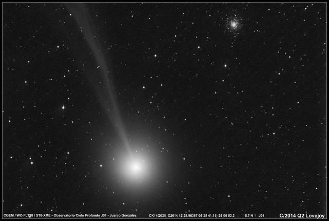 Комета C/2014 Q2 (Lovejoy) прошла на фоне звездного скопления М 79