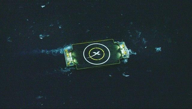 """Пуск ракеты-носителя """"Falcon-9"""" и попытка вернуть её первую ступень на твердую поверхность"""