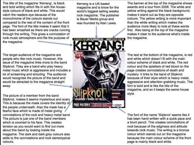 Music Magazine Front Cover Analysis