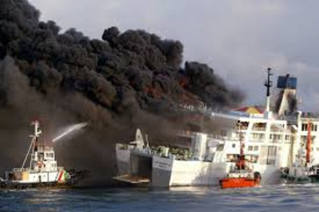 A bomb onboard a Philippines ferry detonates, starting a fire that kills at least 100 people on their way from Manila to Bacolod in the central Philippines.