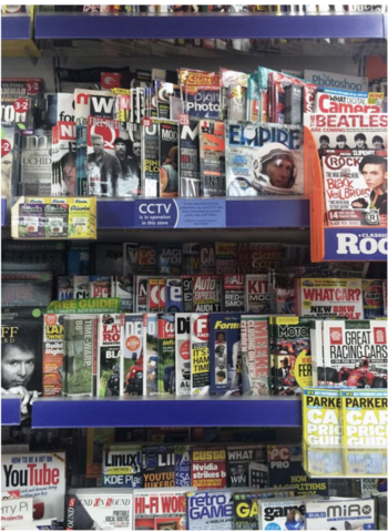 Magazines in a shop.