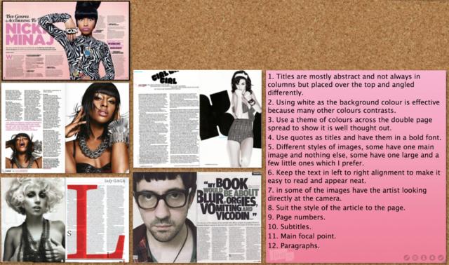 Double page spread checklist.