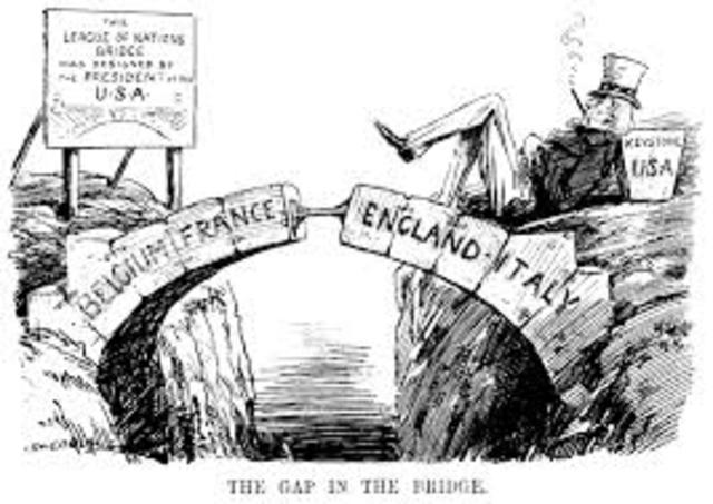 U.S. fails to ratify Treaty of Versailles