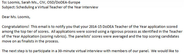 DoDEA Virtual Teacher of the Year Interview