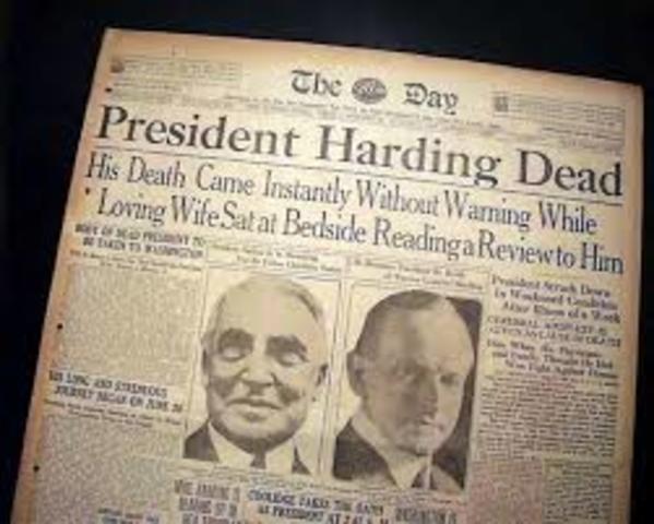 Harding dies in office