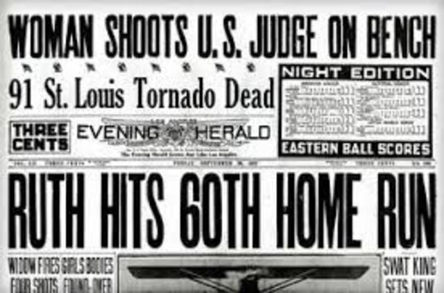 Babe Ruth hits 60 homeruns in one season