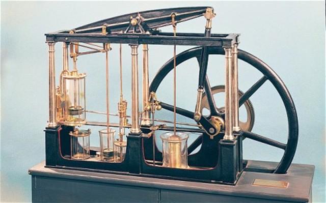 James Watt develops the first pressurized steam engine.