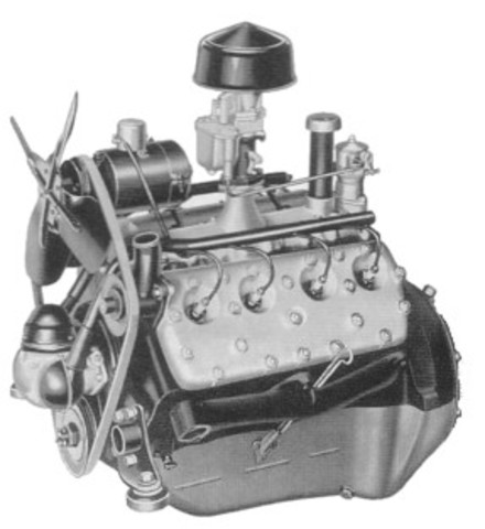 Ford Motor Co. publicly unveiled its V-8 engine