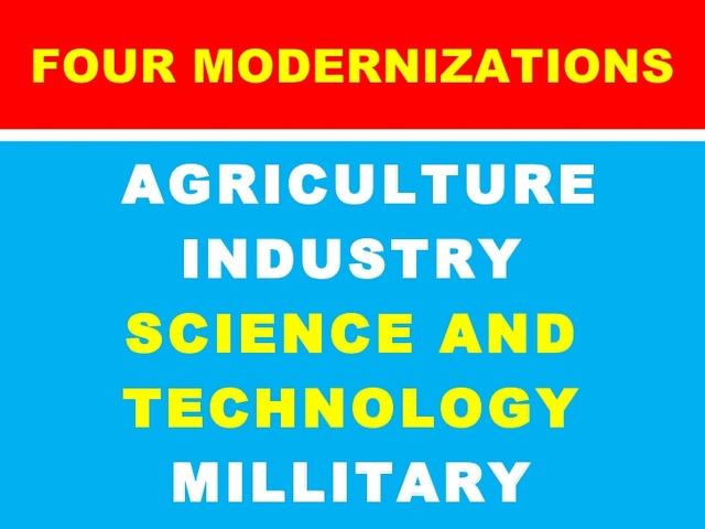 "Deng Xiaoping introduces ""The Four Modernizations""."