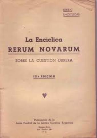 Se publica la encíclica Rerum novarum.