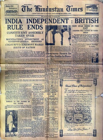 India's Independence, but Splitting