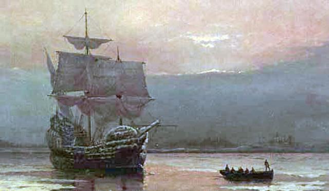 Mayflower lands at Plymouth Rock, Massachuestts