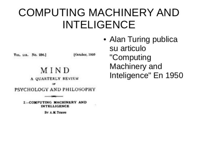 """Computing Machinery and Inteligence""."