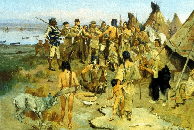 A spot where the expiration experience a peaceful trade experience with a native tribe