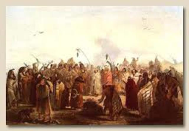 Lewis and Clark peacefully trade with natives