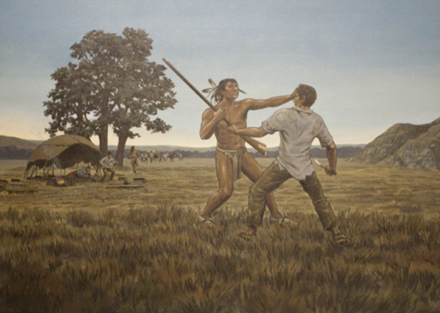 An incident where someone from the expedition killed a person from a native tribe.