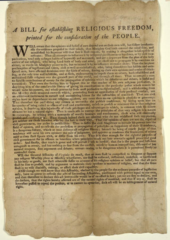 Ordinance of Religion Freedom adopted by Virgnia legislature written by Thomas Jefferson, this statute would late become the model for the first amendment to the Constitution.
