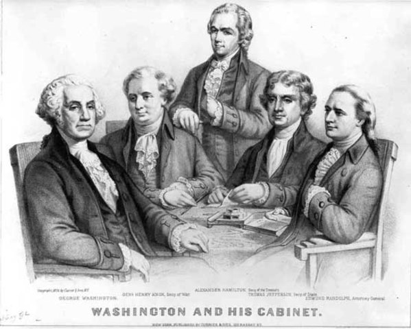 War and Treasury Departments are established by Congress. Henery Knox will be the Secretary of War; Alexander Hamilition will be the Secretary of the Treasury