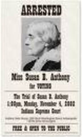 Susan B. Anthony is arrested
