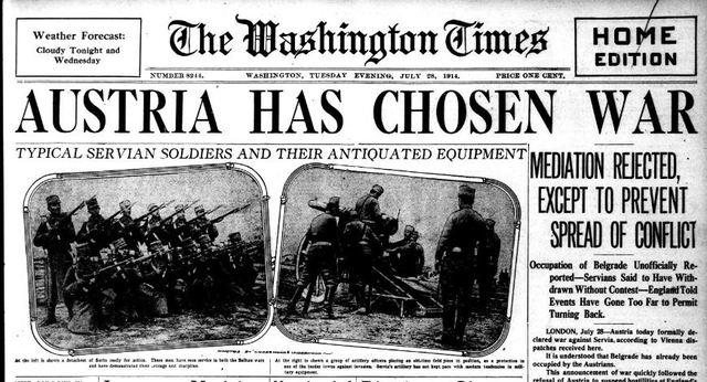 World War I begins as Austria declares war on Serbia