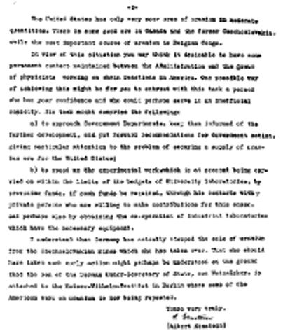 Einsteins letter to FDR