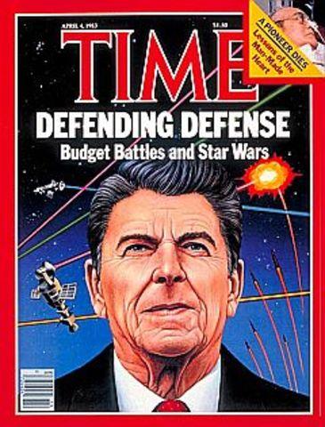 Reagan announces SDI plan (Star Wars)