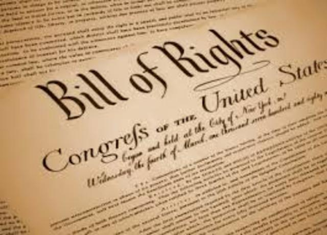 The Bill of Rights is summited by Congress to the States for ratification