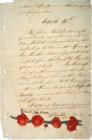 Treaty of Paris signed by Great Britian