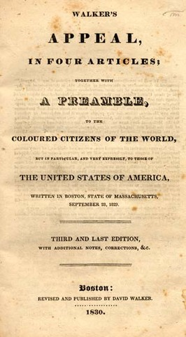 """Walker Publishes """"Apeal to the Colored Citizens of the World"""