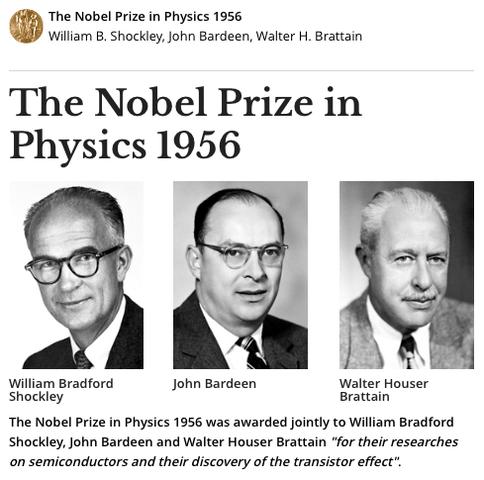 Premio Nobel de Física por la invención y desarrollo del transistor electrónico