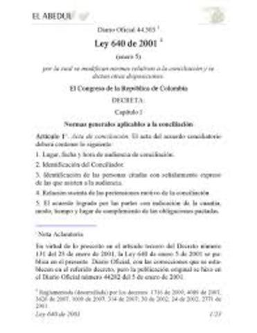 Ley 640 de 2001