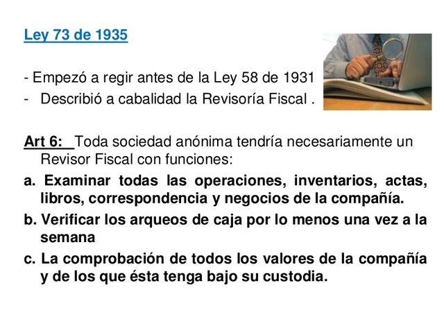 Ley 73 de 1935.