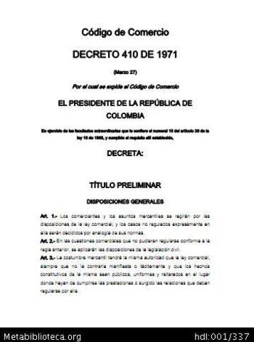 nuevo código de comercio, Decreto Ley 410