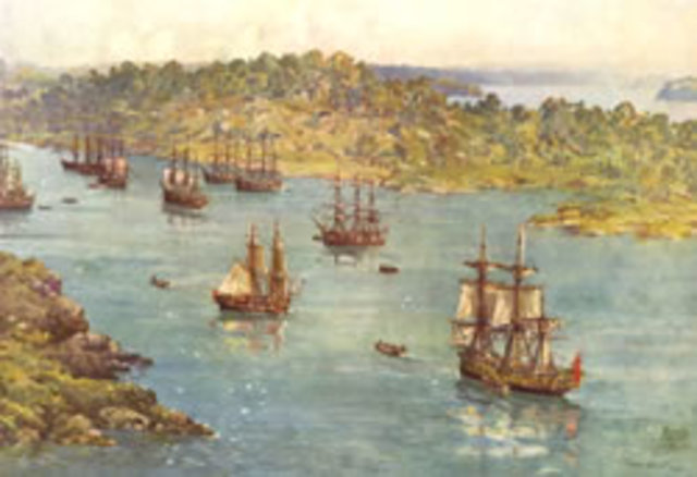 Arrival of first fleet in Botany Bay
