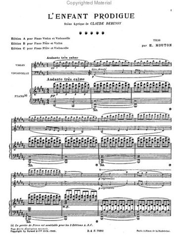 Debussy's  L'Enfant Prodigue won the prix de Rome