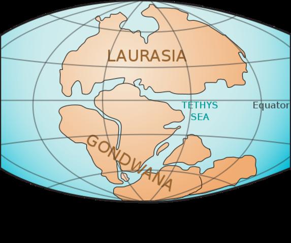 Pangaea Drifting - 225 million years ago – Mesozoic era