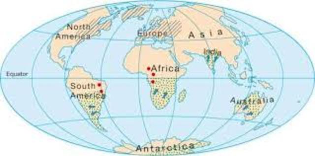Present Shape of Continents - 5 million years ago – Cenozoic era