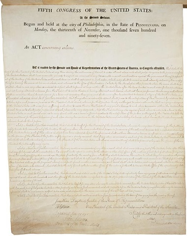 Aliens and Sidition Acts