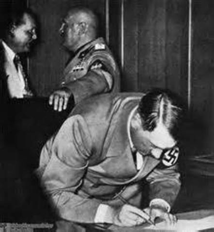 1938 Munich Pact signed giving the Sudetenland of Czechoslovakia to Germany