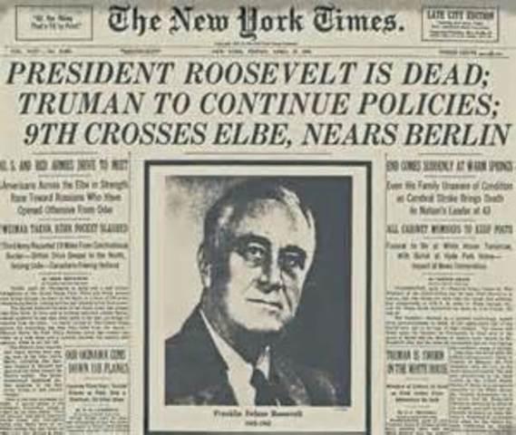FDR dies, Harry S. Truman becomes President